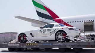Dubai Police's Mercedes-Benz SLS flies Emirates SkyCargo