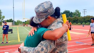 Teen Track Star Surprised by Military Mom at Finish Line