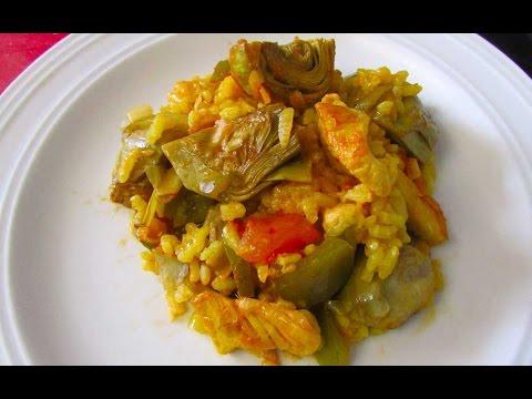 Arroz con pollo y alcachofas paella de verduras youtube - Arroz con alcachofas y jamon ...