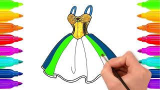 How To Draw a Wedding Dress For Kids | Kids Coloring Pages | Learn With Fun