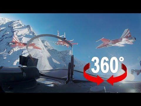 Swiss Air Force flight at Lauberhorn Ski Race 2018 I 360 Video