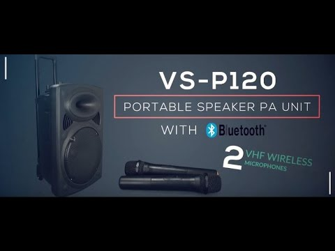 Vocal-Star VS-P120 Portable Speaker PA Unit With Bluetooth & 2 VHF Wireless Microphones Overview (e)