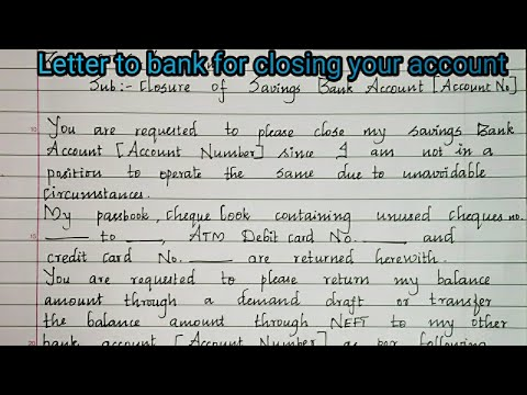 A Letter To Close Your Bank Account