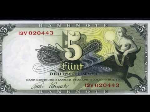 Germany banknotes Deutsche Mark German money currency.