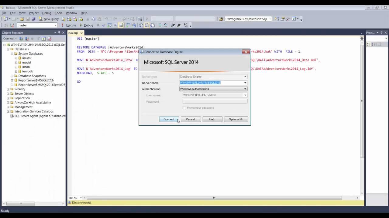 Adventure Works 2014 Veritabanını Yükleme SQL Server 2014 - YouTube