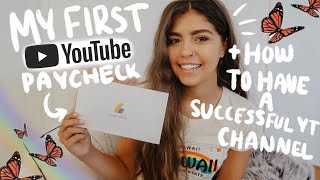 MY FIRST YOUTUBE PAYCHECK + TIPS ON HOW TO HAVE A SUCCESSFUL CHANNEL IN 2019/2020 | Francesca Grace