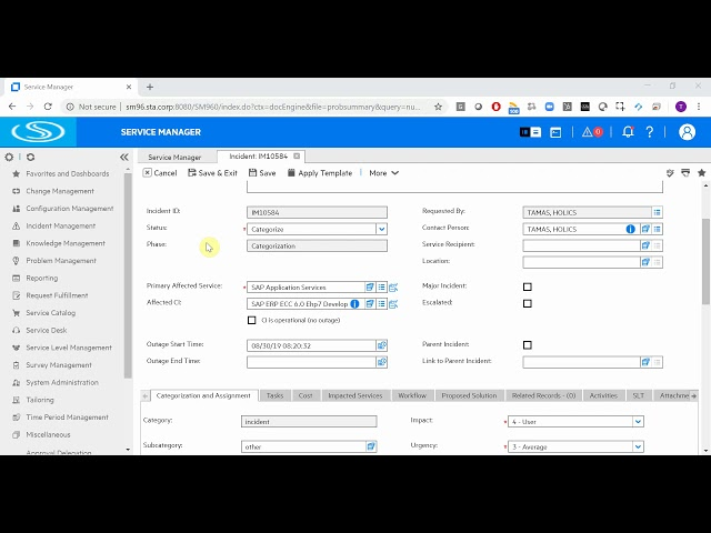 SAP + Micro Focus (formerly HP) Service Manager integration - How incident fields are populated