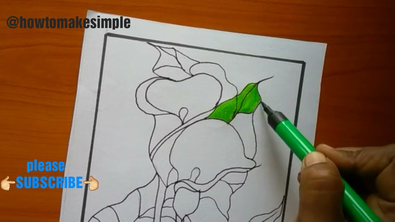 how to make simple calla Lily/arum lily drawing @how to make simple Zantedeschia aethiopica, Araceae