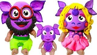 Куклы Пупсики ЛУНТИК РОДИТЕЛИ Лепим МАСКИ из пластилина Плей До Делаем АКВАГРИМ Пупсики в МАСКАХ