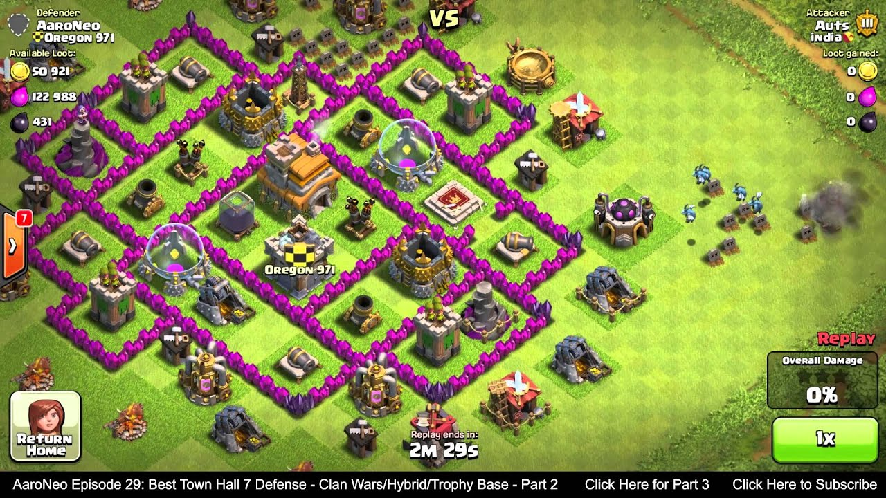 Best Town Hall Level 7 Th7 Defense Strategy Clan Wars Hybrid Trophy Base Clash Of Clans Part 2 Youtube