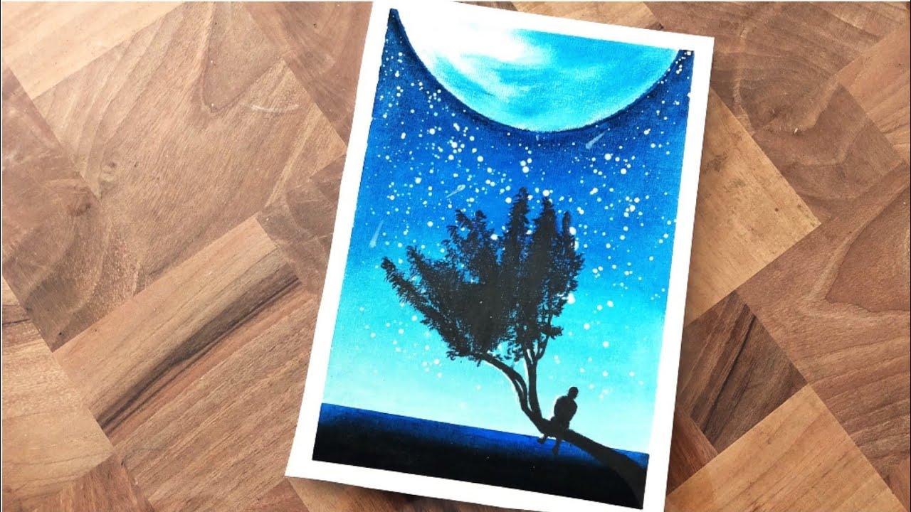 Easy Simple Pastel Painting Step By Step For Beginners Pastel Boyadan Manzara Cizimi Nasil Yapilir Youtube