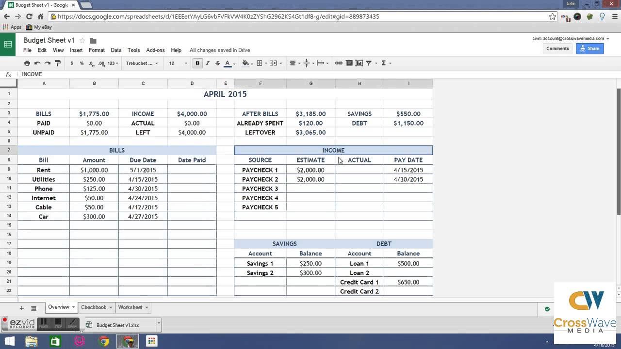 simple budget spreadsheet