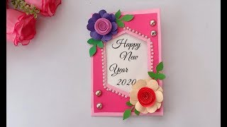 Very Easy Beautiful handmade happy New year card 2020 card idea DIY Greeting Cards for New year