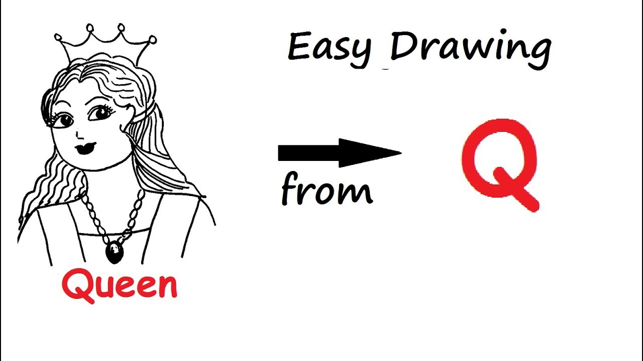 How To Draw A Queen From Alphabet Letter Q अक षर Q स
