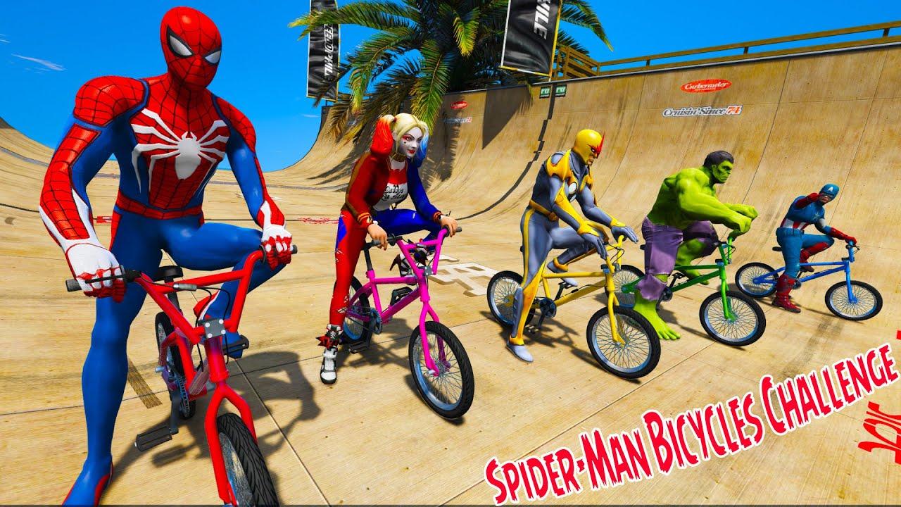 Homem Aranha e Heróis Desafio em Motos, Carros, Caminhões e Bicicletas Spider-Man Bicycles Challenge