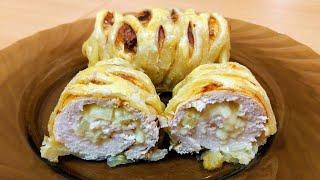 Куриная грудка в тесте с сыром и ананасами