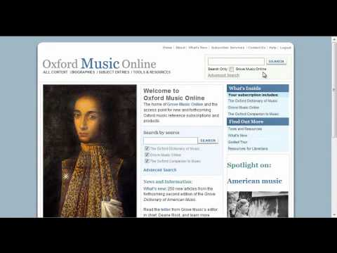 Using Oxford Music Online