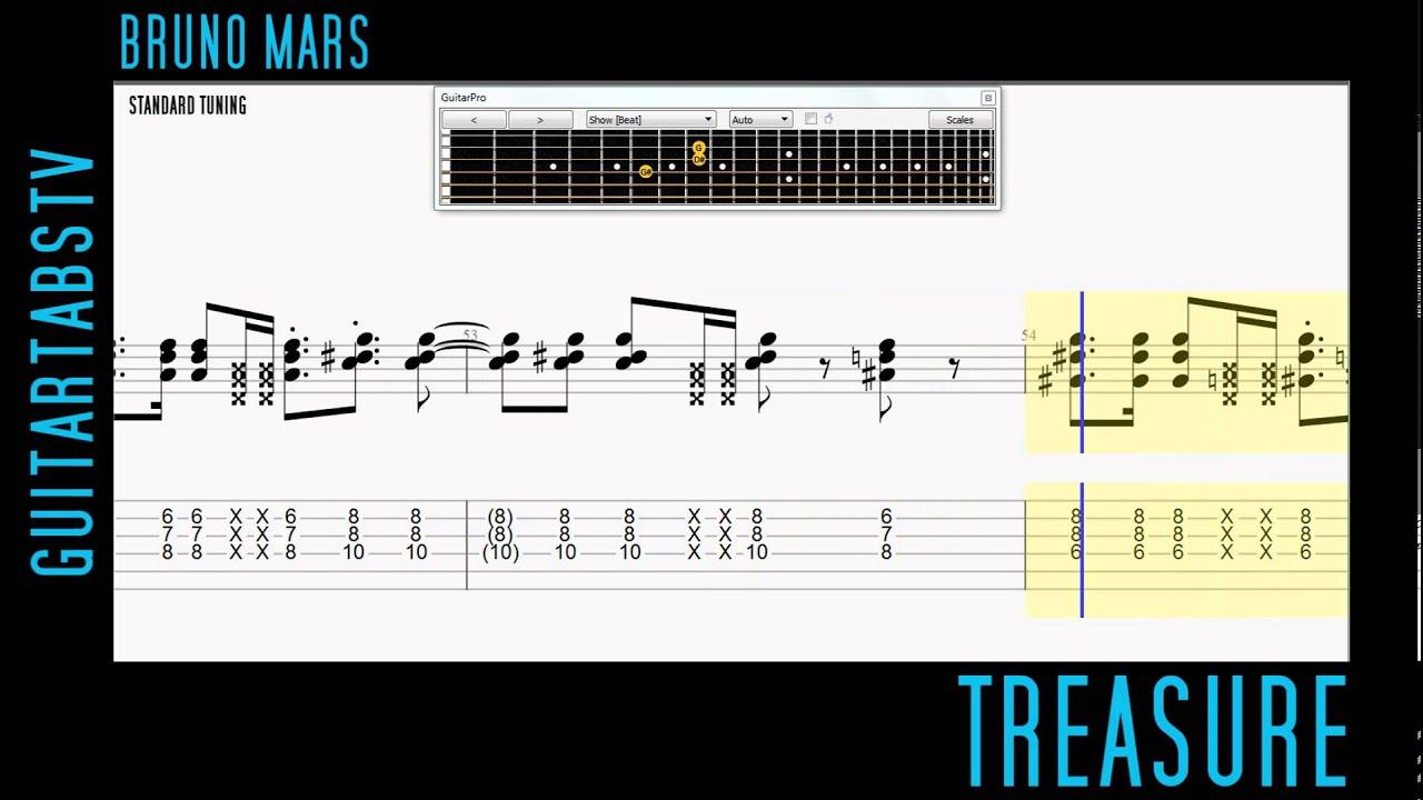 Treasure By Bruno Mars Easy Guitar Pro Tabs Pdf Youtube