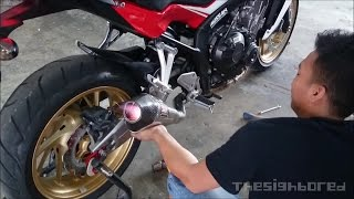 Honda CB650F Yoshimura R-55 with custom link pipe