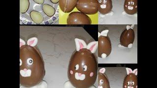 Ovetti di cioccolato decorati con pdz | Coniglietti pasquali | Pasqua