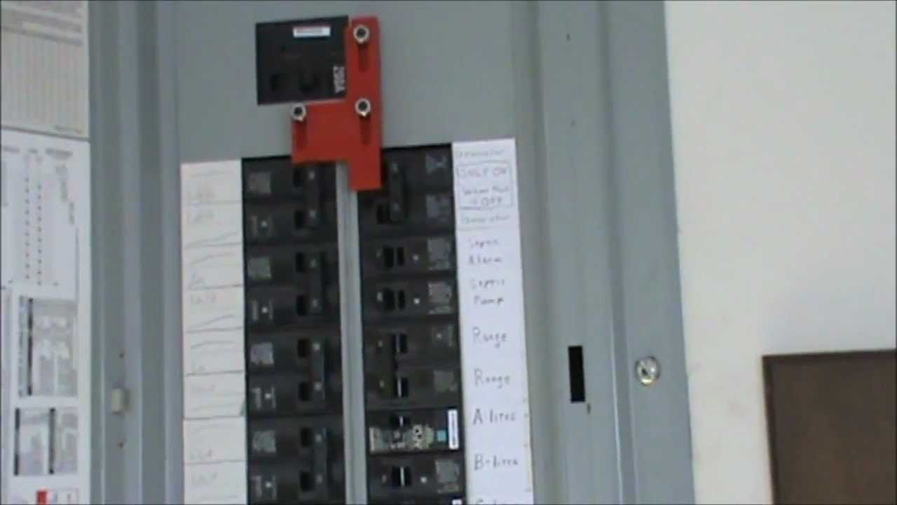 maxresdefault how to wire a generator to an electrical panel youtube home electrical fuse panel diagram at virtualis.co