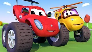 Monster Truck Town - Mia the Monster Copter39s accident in the Well Monster Trucks Cartoon for Kids