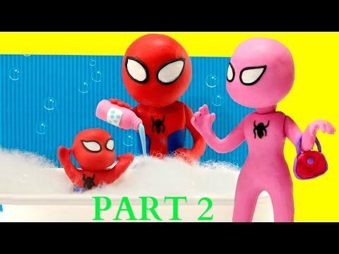 Pink Spidergirl Spiderman & Spiderbaby Bathtime Baby Bath Time Stop Motion Superheroes Prank 2016