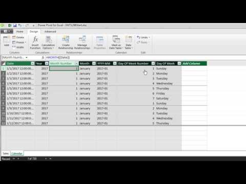 Excel Magic Trick 1299: Automatic Calendar Table in Data Model, New in Excel 2016