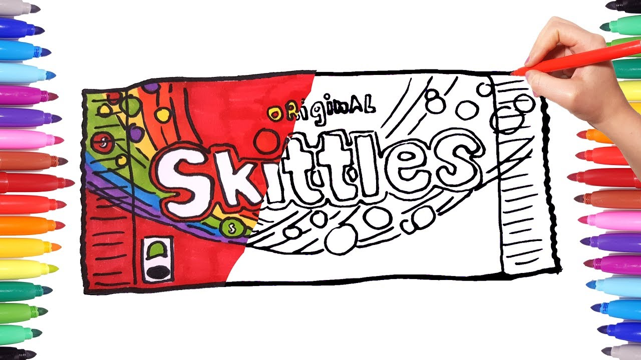 Drawing and Coloring Skittles Candy Pack | Skittles Coloring Pages for Kids  | Painting candies