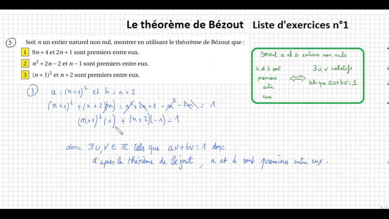 TS-spé-PGCD,Bézout,Gauss- Le théorème de Bézout- Exercices liste 1 (2/2) - YouTube