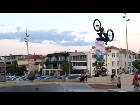 Freestyle BMX air tricks at St Kilda Skatepark - Melbourne, Australia