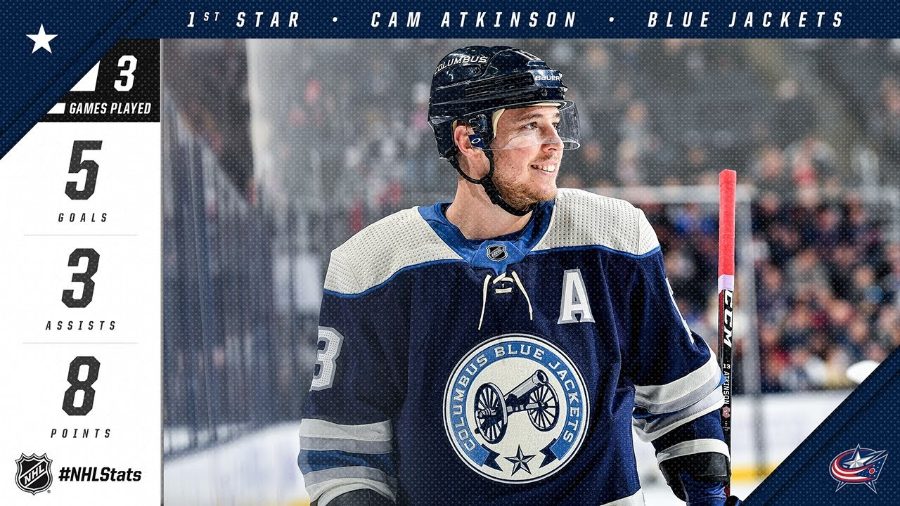 1ab02b83f05 Cam Atkinson earns first star of the week - YouTube