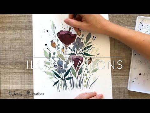 aquarelle le jardin fleuri
