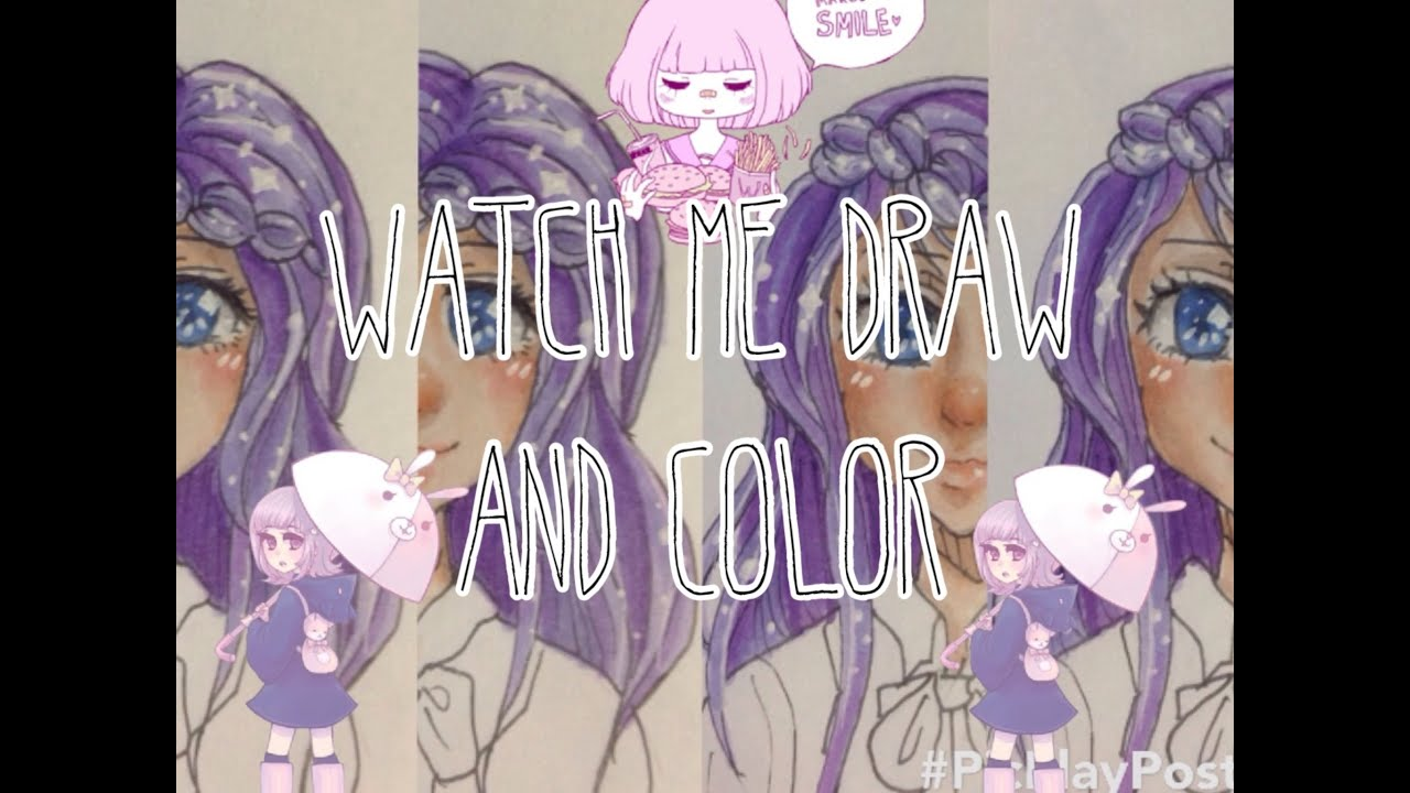 WATCH ME DRAW AND COLOR: Purple-haired anime girl - YouTube