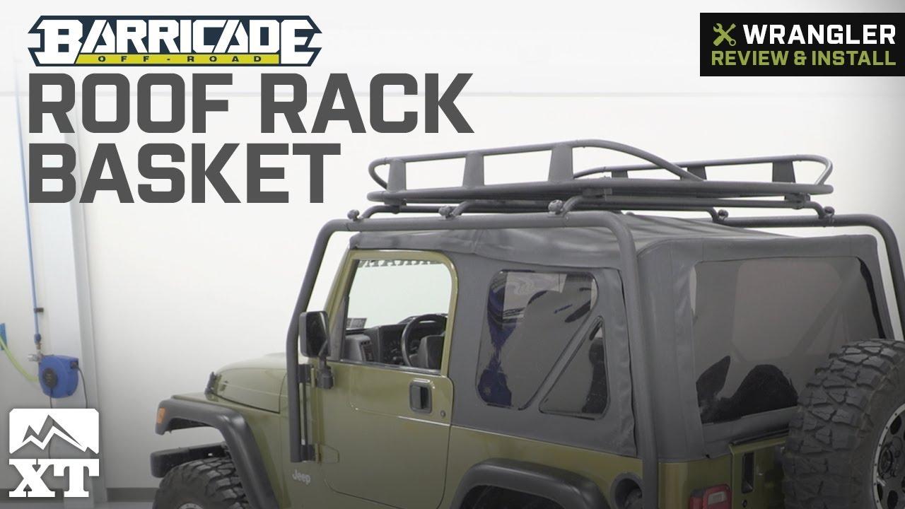 jeep wrangler barricade roof rack basket textured black 1987 2006 tj yj review install
