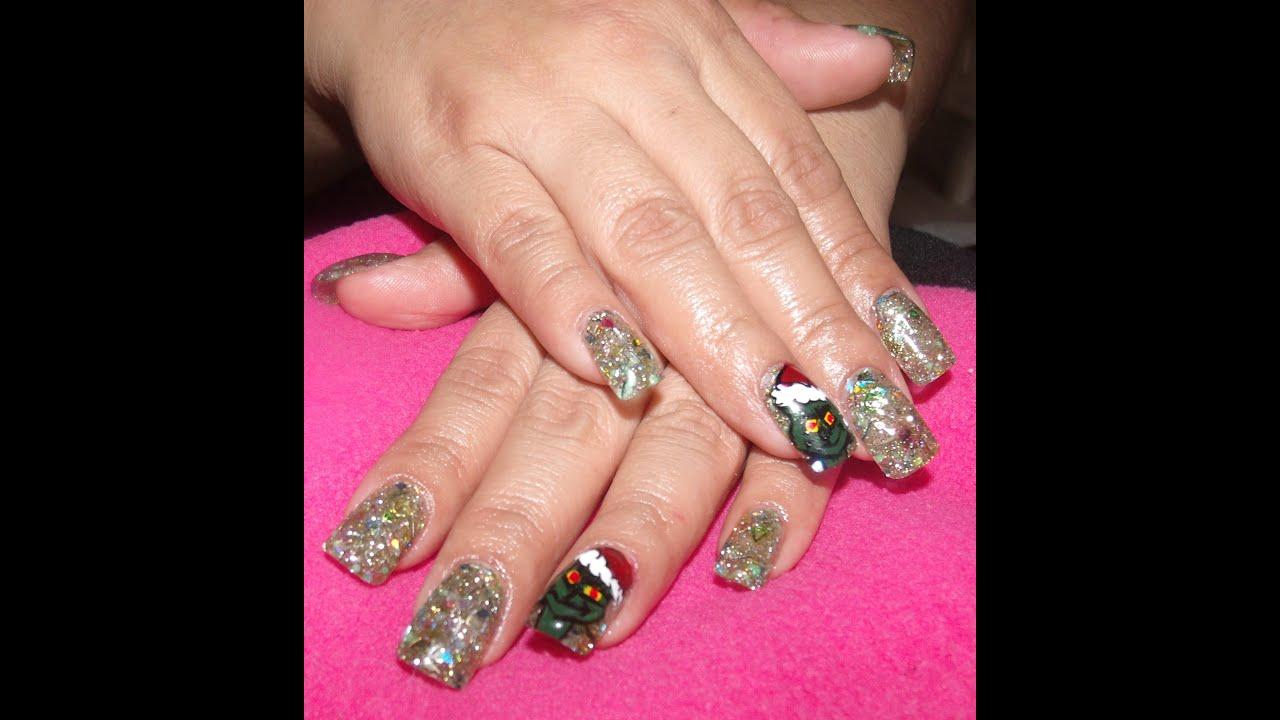 el grinch diseo de uas para navidad diy grinch nail art design