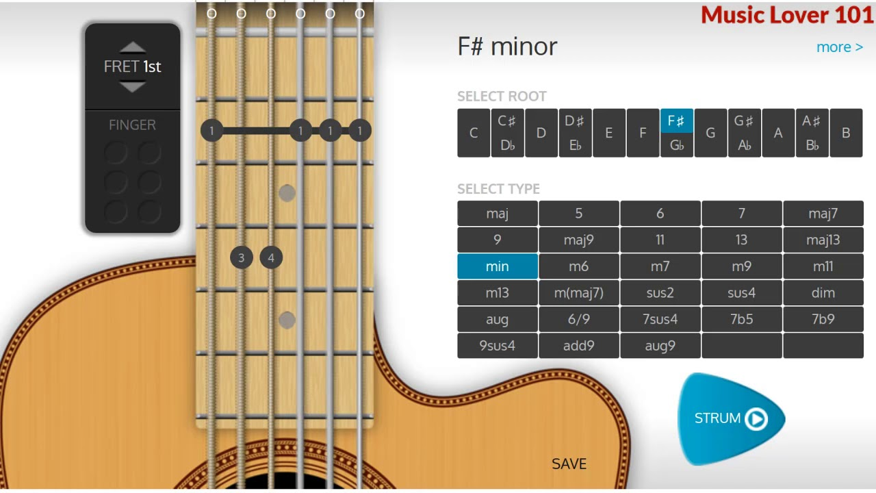 F Minor Or G Flat Minor Chord Guitar Youtube