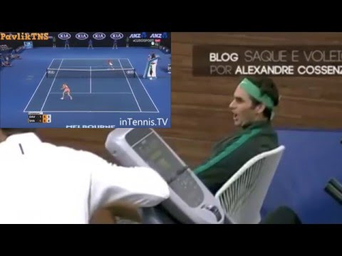 Federer reaction to Sharapova v. Davis, Australian Open 2016