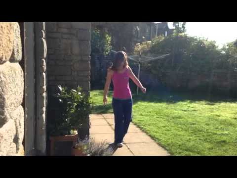 Learning to walk 4 weeks after major femur surgery.