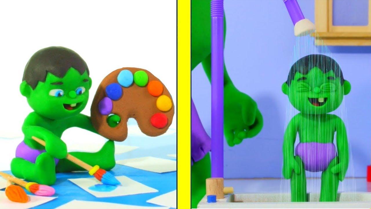BABY HULK NEEDS A SHOWER AFTER PLAYING ❤ Hulk & Frozen Elsa PlayDoh Cartoons For Kids