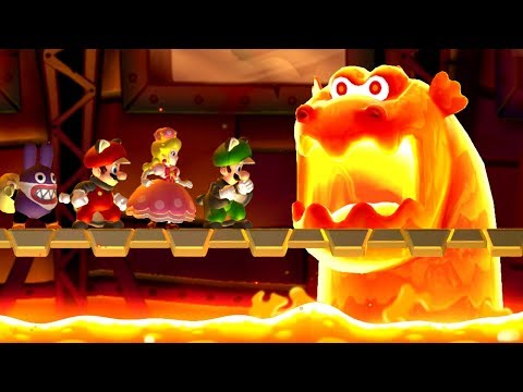 New Super Mario Bros. U Deluxe – All Castle Bosses (4 Players)