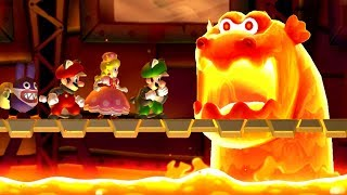 New Super Mario Bros. U Deluxe - All Castle Bosses (4 Players)