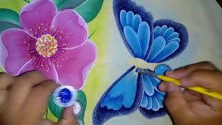 Pintando mariposa con Alfre Severo.