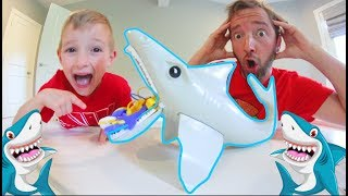 Father & Son PLAY SHARKY'S DINER GAME! / Don't Let Him Chomp!