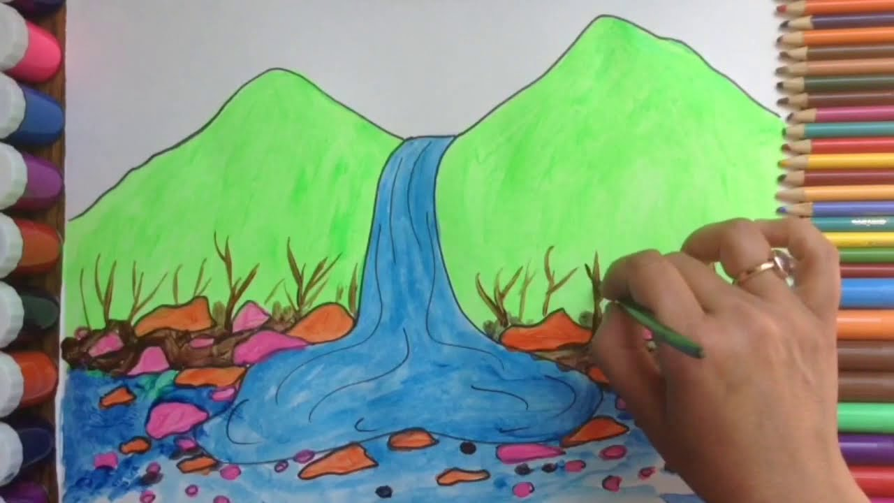 Drawing and coloring waterfall scenery