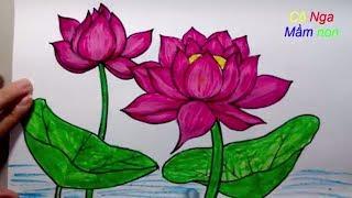Vẽ hoa sen đơn giản - How To Draw Lotus Step By Step - Easy Drawing