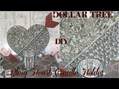 DIY DOLLAR TREE   VALENTINES DAY DIY HEART CANDLE DECOR 2018   DIY HOME DECOR