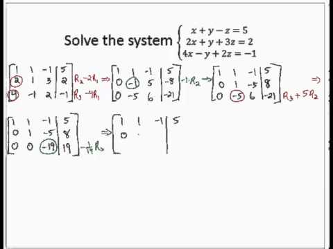 Solve 3x3 system Reduced Row Echelon Form - YouTube