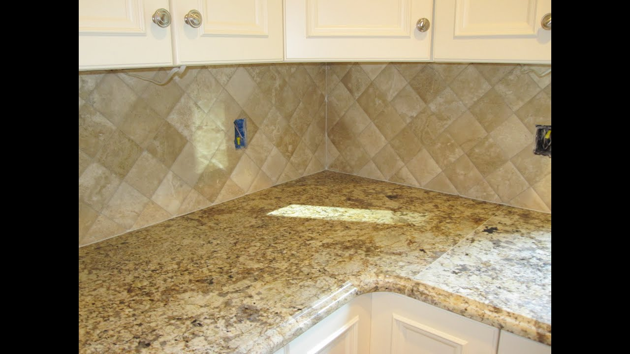 Travertine tile Kitchen Backsplash - YouTube