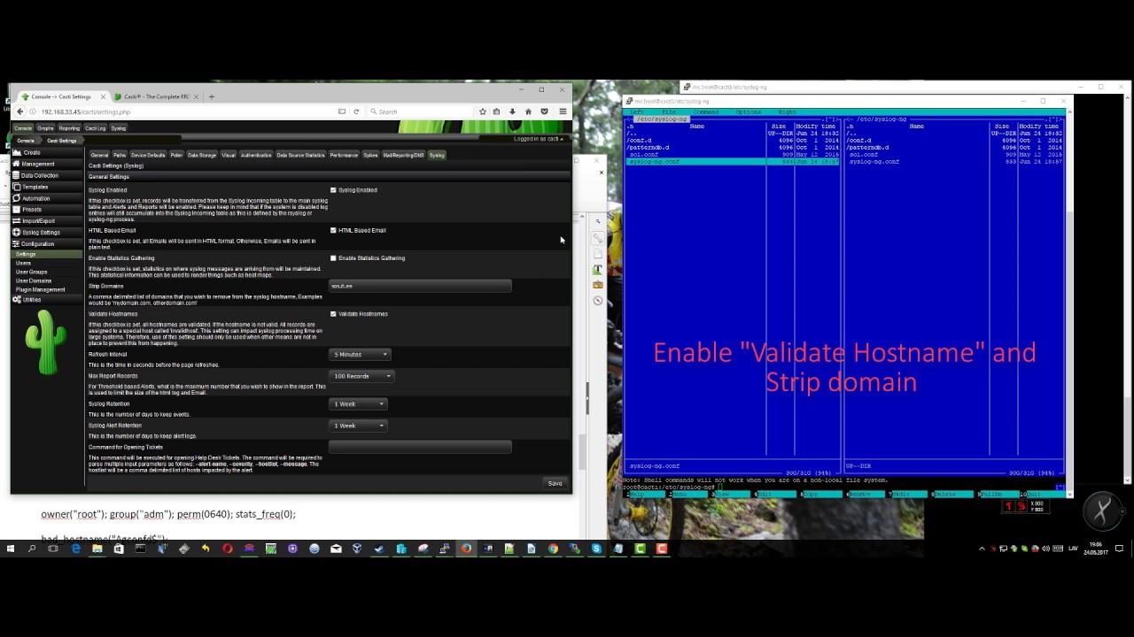 Install Syslog Plugin To Cacti 1 1 10 Syslog Ng Debian 8 Youtube